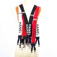 3 Color Width English Alphabet Suspenders Elasticity Leather Stitching 6 Clip For Women Men Fashion Brace