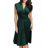Moderne Plus Größe Grün Heißer Verkauf Damen V-ausschnitt Büro Kleidung Sommer Midi Gelegenheitsarbeit Business Kleid L36103-5