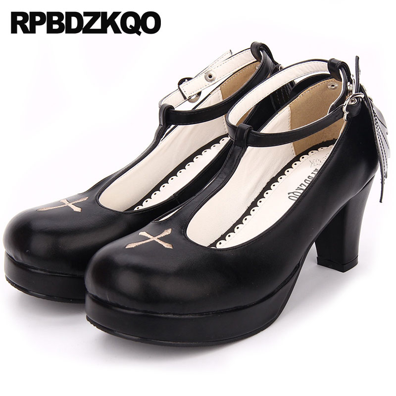 Hauts Pompes Noir Lolita Nouvelle Femmes Tendance Brodé T Noir Talons Rond 4 Épais Bout Mignon Chaussures Taille Aile black Sangle 34 Cheville Japonais 7gx8wq4UwA