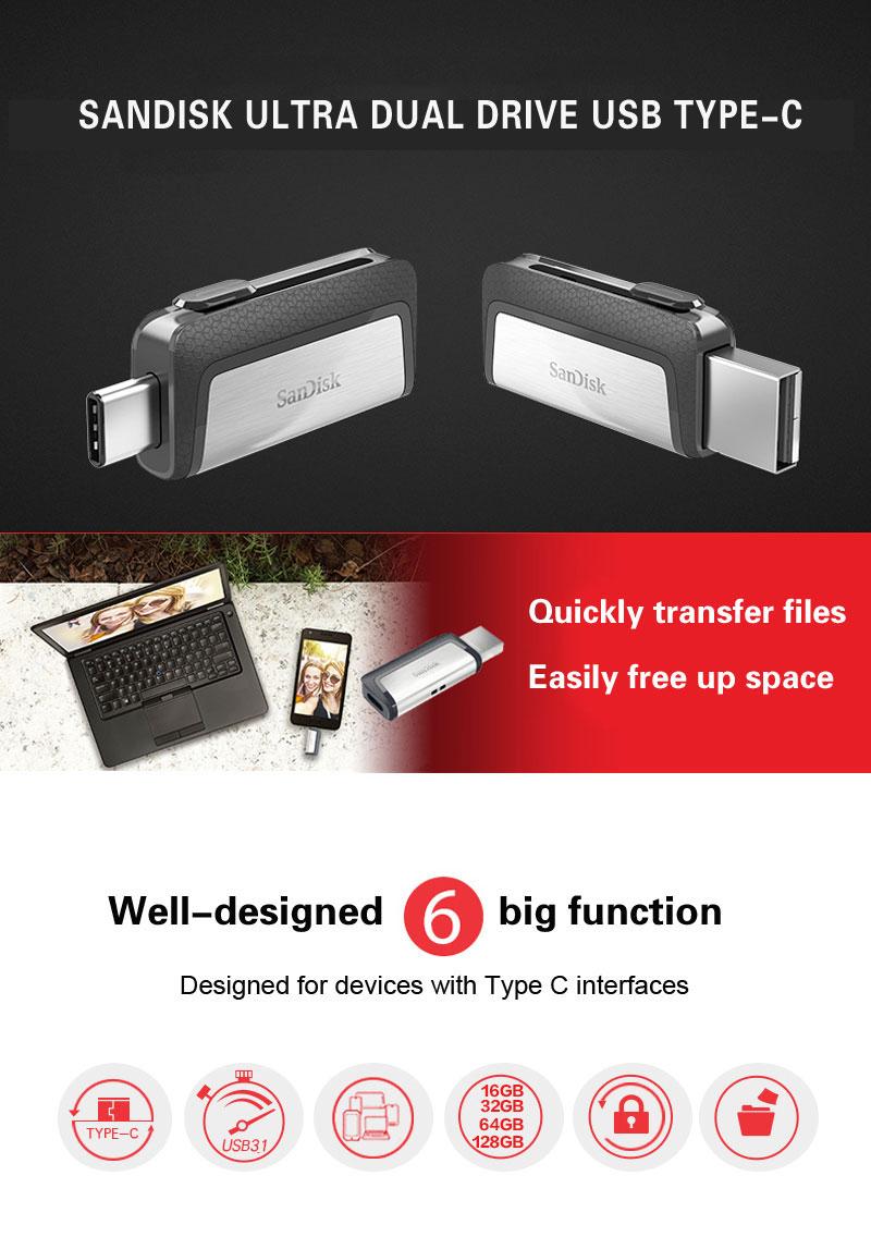 Sandisk Ultra Dual Drive Usb Type C 128gb 31 Flash 64gb Otg Flashdisk 32 Gb 1usb Drivewith Retail Package