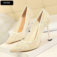 New Hollow Lace Summer Shoes Shallow Pointed Toe Sexy Women's High Heel Shoes Platform Pumps Fashion For Ladies Thin Heel 9.5CM