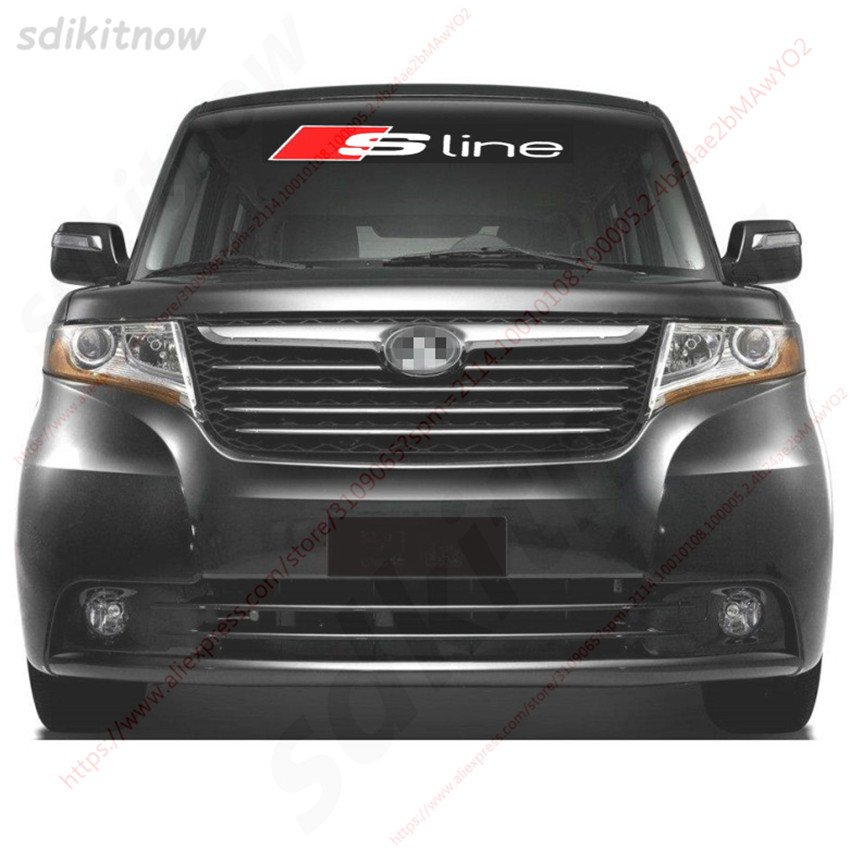 Car Front Rear Windshield Sticker Sline Logo Decal Styling For Audi A1 A3 A4 A5 A6 A7 A8 Q3 Q5 Q7 S3 S4 S5 S6 S7 S8 TT B7 B8 2 pcs car side door sline s line fender emblem decal sticker for audi a1 a3 a4 a5 a6 a7 a8 q5 q7 r8 s4 s5 s6 s7 s8 tt