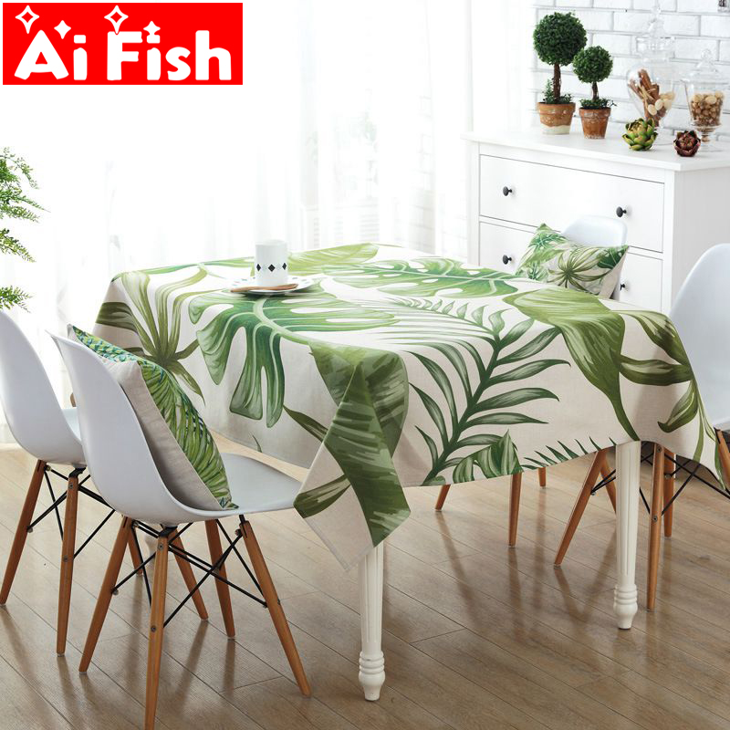 Europe Green Print Leaves Tablecloth Garden Cotton and ...