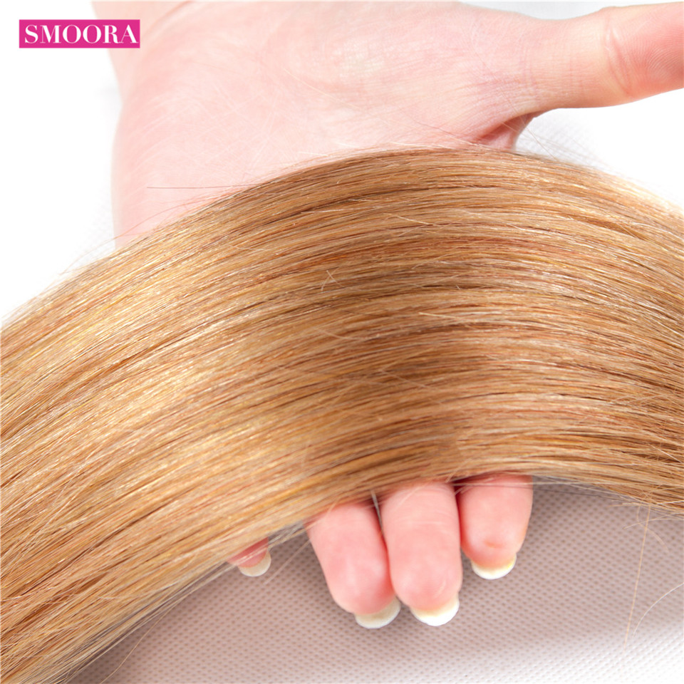 Smoora Hair Ombre  Straight 4 Bundles With Closure T1B/27 Ombre  Bundles With Closure Honey Blonde Non  4