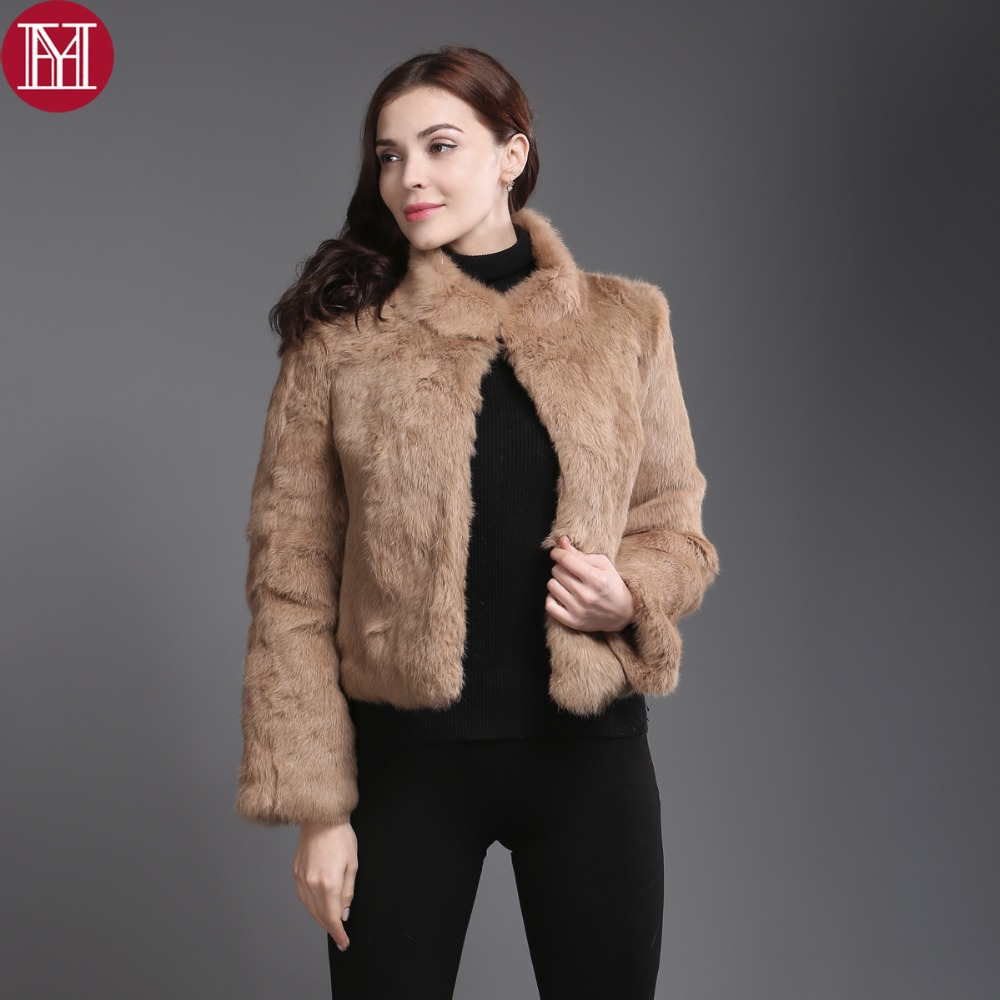 2017 New Genuine Rabbit Fur Coat Women Full Pelt Real Rabbit Fur Jacket Winter Fur Overcoat