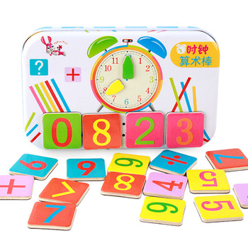 Baby Math Toys Wooden Counting Sticks Early Education Montessori Toy for Kids Puzzle Calculate Game Math Toys Dropshipping montessori children teaching children counting and stacking boards wooden math toys puzzle early education toys