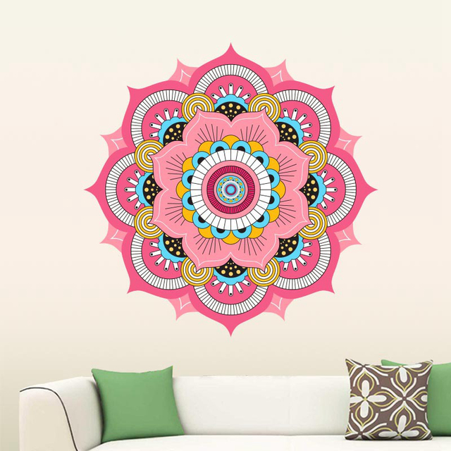 large wall stickers for living room india what colors to paint a buddhism colorful mandala namaste removable creative wallpaper mural home decoration