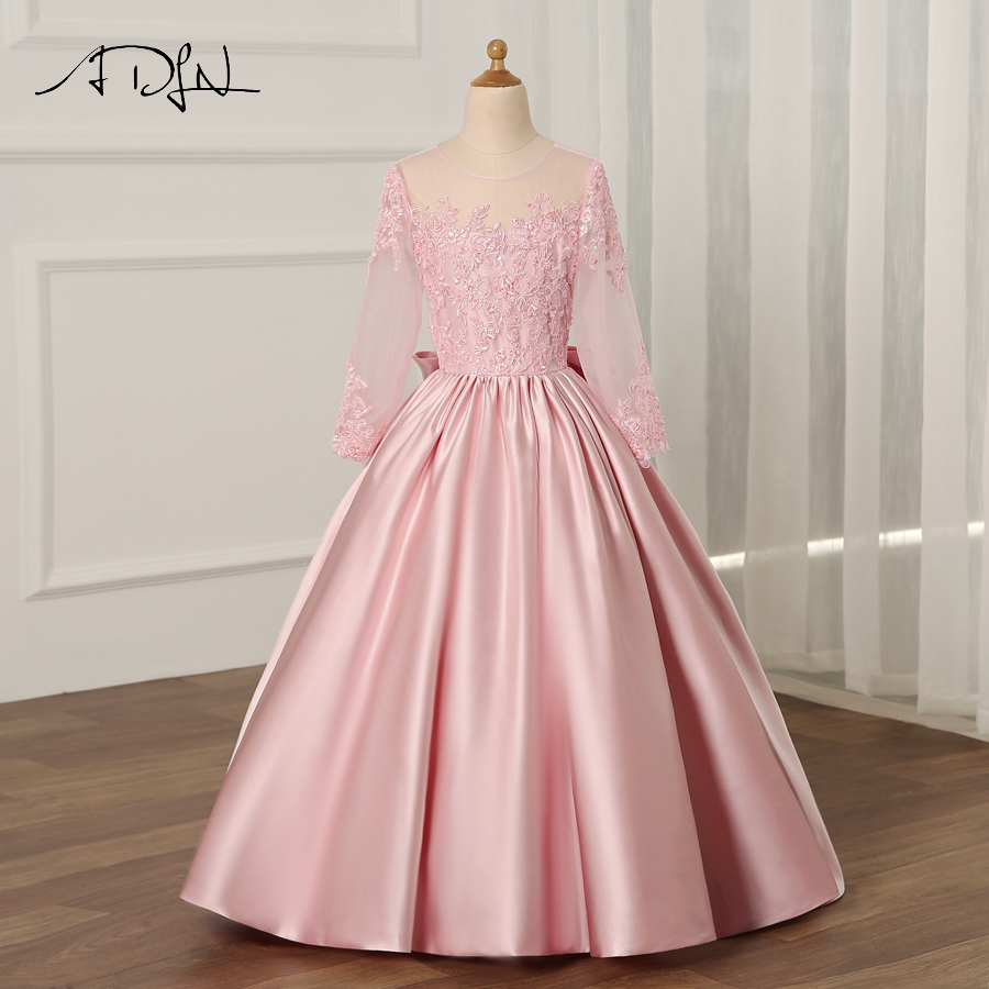 Adln 2018 Flower Girl Dress With Long Sleeves A Line Kids Pageant