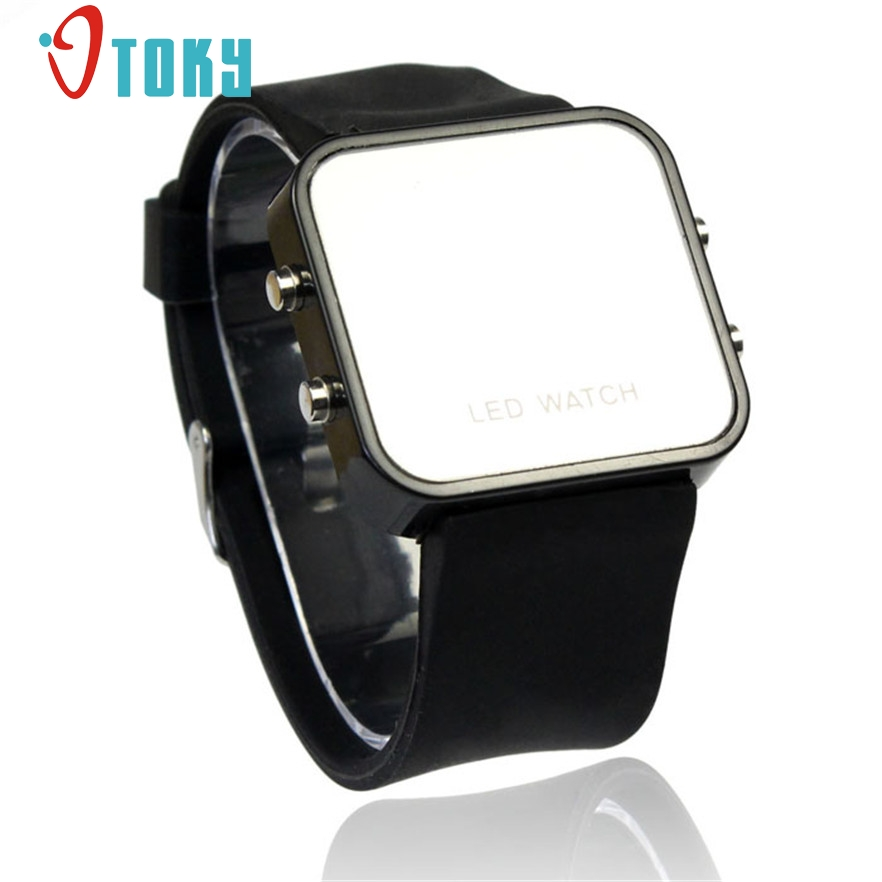 New Arrive Classical LED Calendar Day/Date Silicone Mirror Face Men Lady Wrist Watch #30 gift 1pcs