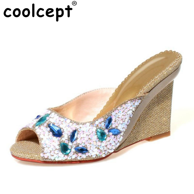 07939c9d2974c Coolcept Bohemia Women s Wedges Sandals Beading Flower Shine Wedges  Slippers Peep Toe Summer Vaaction Women Shoes Size 33 40-in High Heels from  Shoes on ...