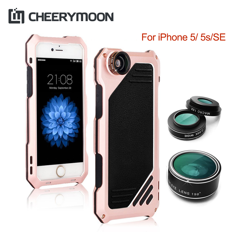 CHEERYMOON Quality Doom Armor three Anti Aluminum Case For iPhone 5 5s iPhone5 SE Shock/Dirt/Waterproof Case With Lens Protect