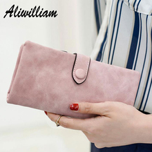 Soft Nubuck Leather Long Wallets Clutch Women Luxury Brand Lady Wallets Money Bag Large Capacity Coin Purse Cards Holder bolsos