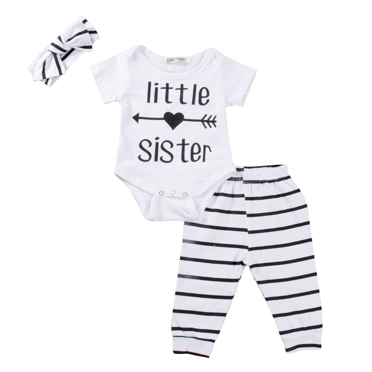 Summer Newborn Toddler Infant Baby Girl Clothes Short Sleeve White Romper+Striped Pants+Headband 3Pcs Set Cute Cotton Baby Set
