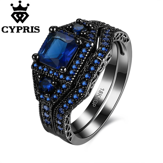 Cool 2017 Crystal Couple Ring Black Gold Color Engagement Jewelry
