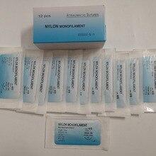 12 шт. игла шовная нейлоновая Моноволокно не травмированная шовная медицинская нить шовная для медицинский хирургический шов практический комплект