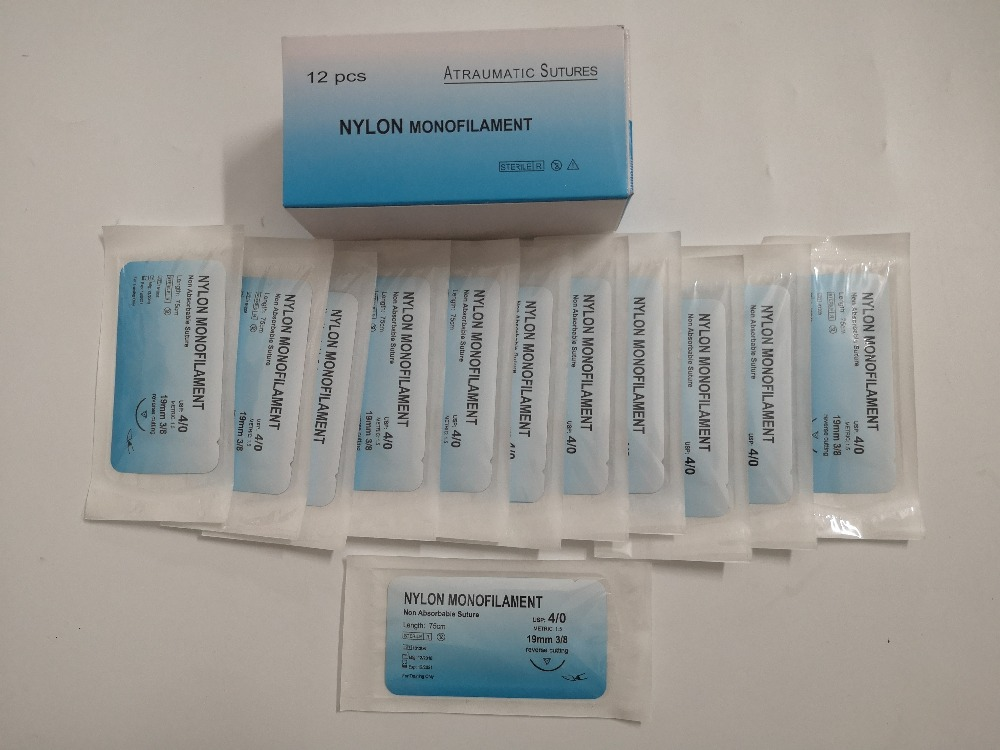 Needle-Suture Practice-Kit Medical-Thread Nylon for Surgical 12pcs Monofilament Non-Injured