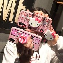Для samsung Примечание 8/9 телефон чехол для Galaxy s8 рисунок «Hello Kitty» основа для S6 s7edge s8/s9 плюс мягкая задняя крышка Розовая пантера + ремень