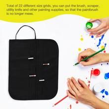 0a79a7957 Roll Up lienzo pincel bolsa casos para dibujo del artista acuarela cepillos  de aceite negro