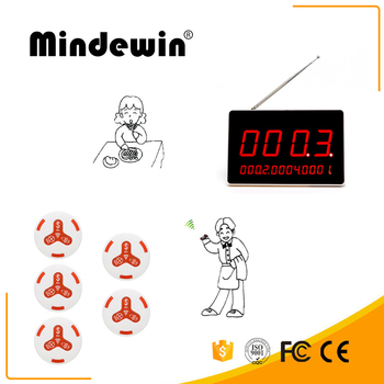 Mindewin Electronic Restaurant Table Number LED Display And 5PCS White Call Button Wireless Call System Receiver Display