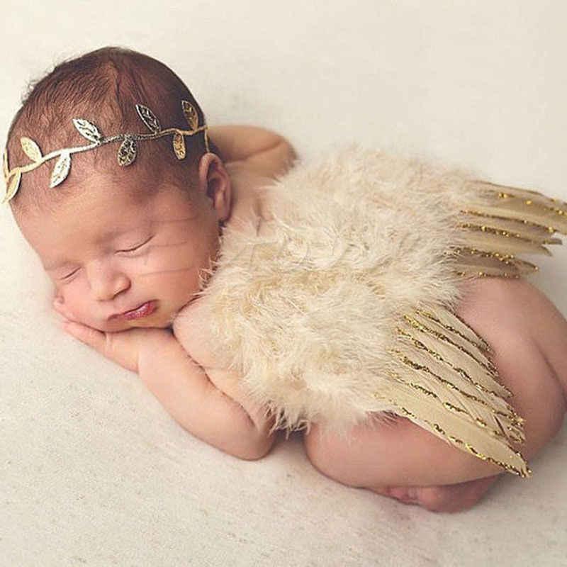Милый, для новорожденных девочек крылья и повязка на голову; костюм; День рождения наряд для фотосессий наряд