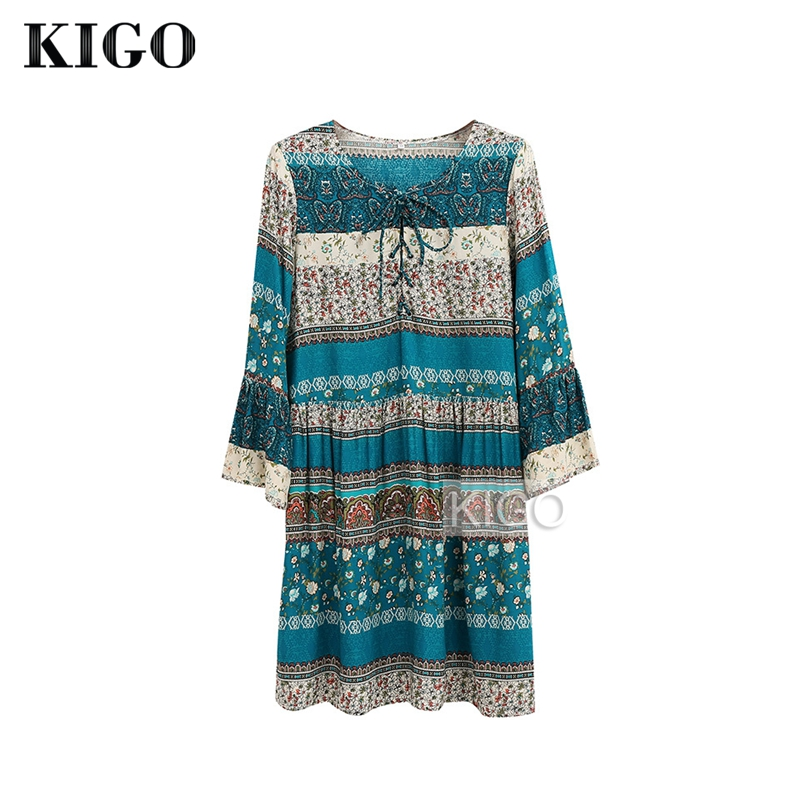 KIGO Summer Women Bohemian Flower Print Dress Sexy V Neck Lace Up Boho Dress Casual Ruff ...