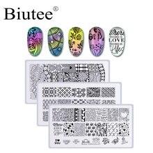 Biutee 3 Pcs/Set Rectangle Nail Stamping Plate Nail Art Stamping Image