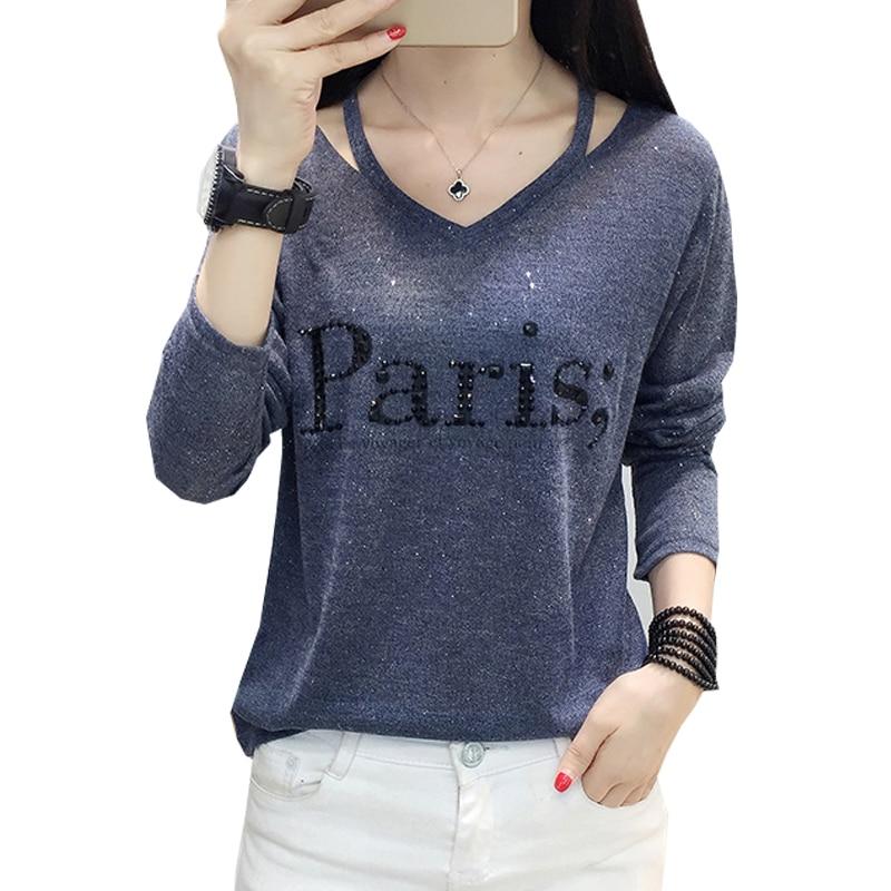 Tee Shirt Femme V-Neck T-Shirt Women Clothes 2019 Autumn Casual Diamonds Letter Tshirt Long Sleeve Tops Korean Woman Clothes