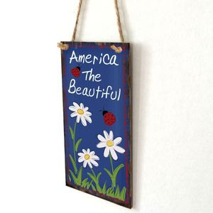 Image 2 - Vintage Wooden Hanging Plaque America The Beautiful Flower Sign Board Wall Door Home Decoration Independence Day Party Gift