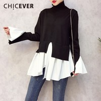 CHICEVER 2018 Spring Patchwork Pullovers Knitted Sweater For Women Turtleneck Flare Sleeve Irregular Female Jumper Sweaters