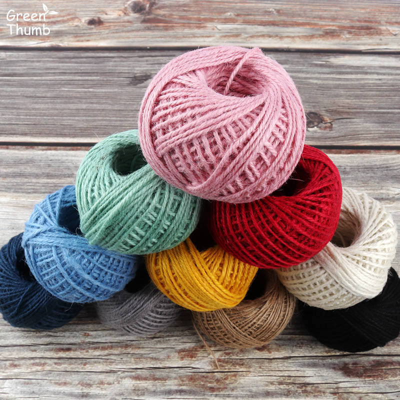US $16 3 38% OFF|10Rolls 50m 2mm Dia Environmental protect Color Jute Rope  Handmade DIY Craft Pink Grey White Orange Red Brown Home Party Decor-in