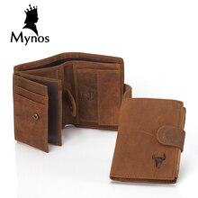 MYNOS Luxury Brand Designer Cowhide Leather Vintage Trifold Hasp Wallet For Men Big Capacity Short Purse Coin Pocket PortfolioS