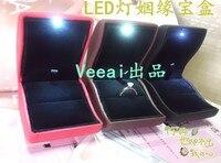 100pcs Random Mixed Color PU Leather LED Lighting Ring Box For Making Romantic Proposal Led Light