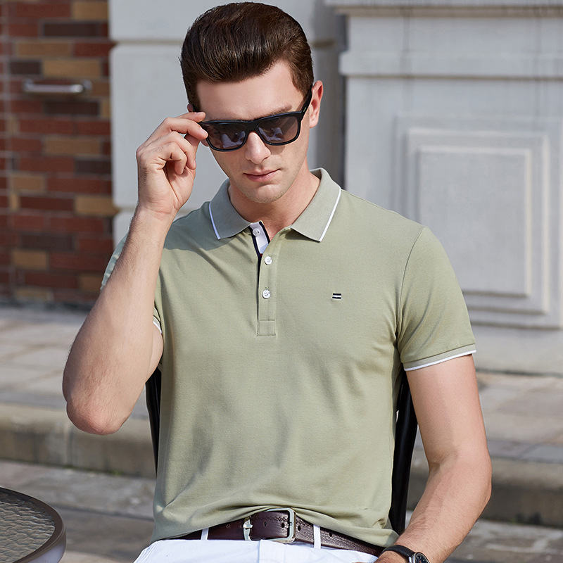 2019 summer fashion solid color matching lapel cotton short-sleeved   Polo   shirt British style business casual men's   polo   shirt