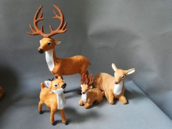 simulation deers plastic&fur sika deers model one family members deers one lot/ 4 pieces,home decoration toy gift w0849