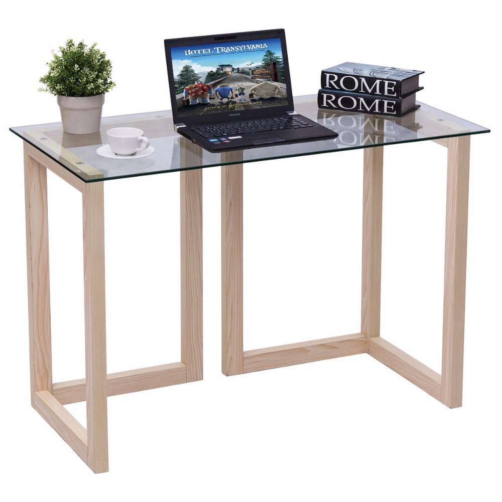 Giantex 44 Tempered Glass Top Console Desk Modern Living Room Sofa Accent Table Wood Entryway
