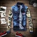New 2016 spring fashion camouflage sleeve patchwork denim jacket men plus size 5xl slim fit men jacket manteau homme /JK2