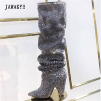 2018 Newest Glittering Crystal Knee High Boots Women Pointed Toe Rhinestone Long Boots Woman Strange High Heels Party Shoes