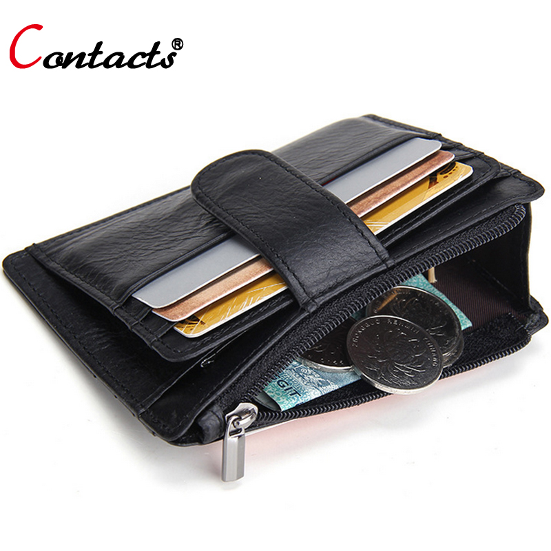 CONTACT'S Genuine Leather Men Credit Card Holder Wallets Women Coin Purse Famous Brand Card Wallet Dollar Price Black Unisex