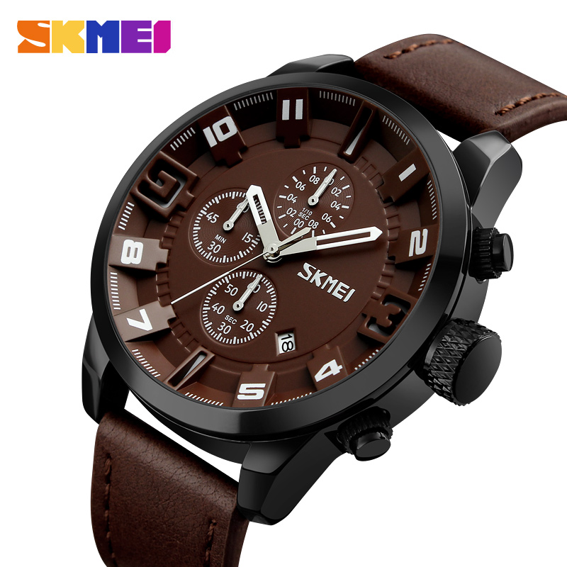 SKMEI Luxury Retro Leather Multifunction Small Dial Working Quartz Watches For Business Male Stop Watch Calendar Sports Relogio digu working sub dial male quartz business watch leather band round dial
