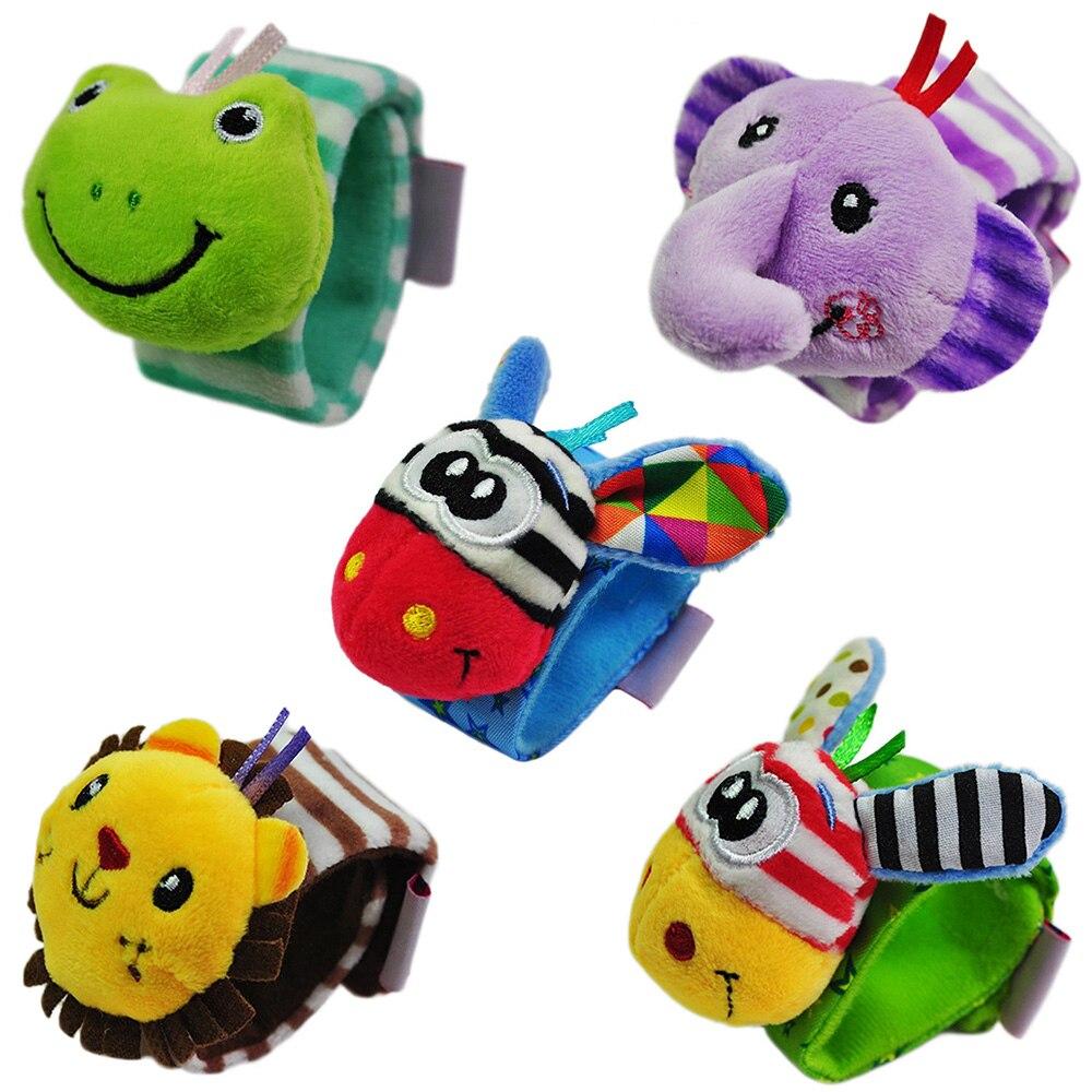 Novo macio dos desenhos animados animal infantil chocalhos do bebê brinquedos crianças recém-nascido de pelúcia pulso chocalhos brinquedo do bebê mão alça de pulso
