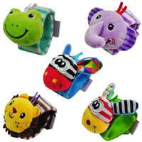 Soft Cartoon Animal Infant Baby Rattles Toys Children Infant Newborn Plush Wrist Rattles Baby Toy Hand Wrist Strap Beanbag