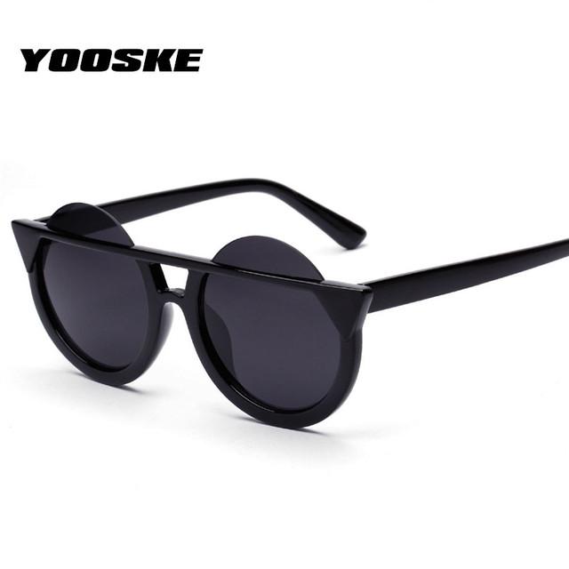 YOOSKE Cat Eye Sunglasses Women Round Lens Cateye Sun Glasses For Female UV400 Colorful Outdoor Goggles Oculo