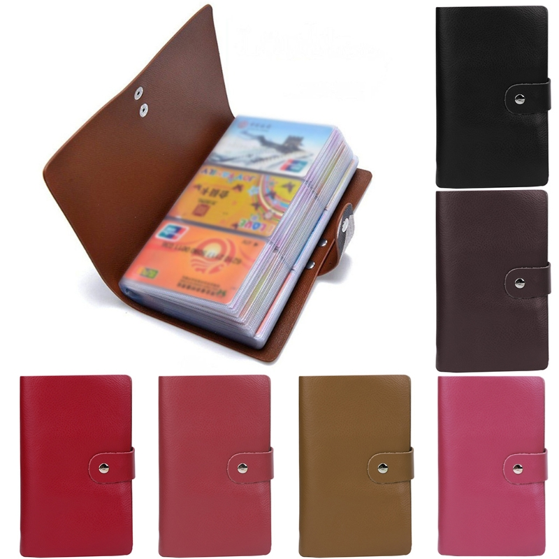 2018 Fashion Women Men 96 Cards Leather Business Name ID Credit Card Holder Organizer So ...