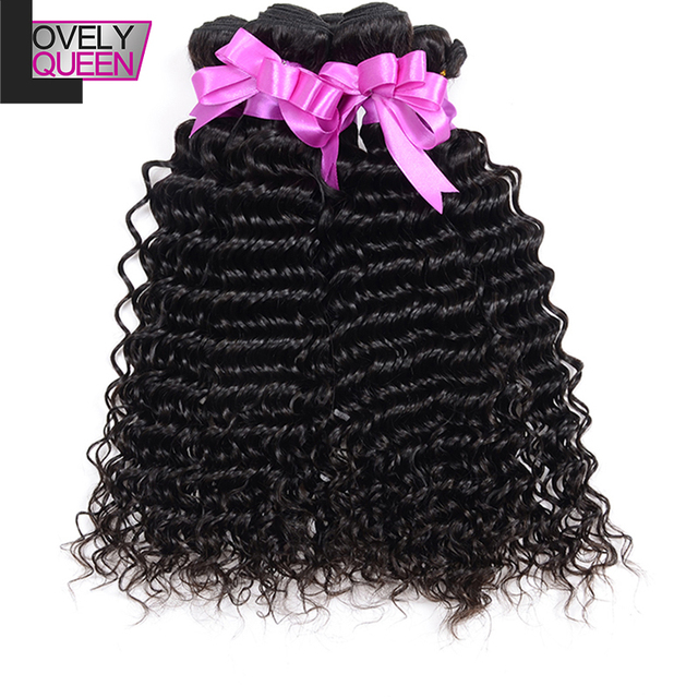 Brazilian Virgin Hair Deep Wave 3 Bundles Lovely Queen Virgin Human Hair Brazilian Deep Wave Deep Curly Brazilian Hair Bundles