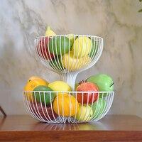 Creative Metal Fruit Bowl Countertop 2 Tier Fruit Basket Living Room Snacks Candy Cheese Slice Coffee Table Storage Basket