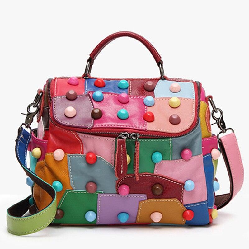 100% véritable sac de dame en cuir première couche en peau de mouton couture de mode rivets sac dames sac à main rétro épaule croix corps sacs
