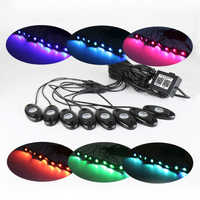 RGB LED Kaya Işıkları Bluetooth Çok Renkli Neon Kiti Su Geçirmez Romantik Atmosfer Işıkları Jeep Off Road ATV SUV Araç Tekne
