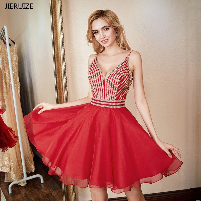 JIERUIZE Blue Red Crystals Short Prom Dresses 2018 A-line V-neck Backless Short Cocktail Party Dresses Graduation Dress