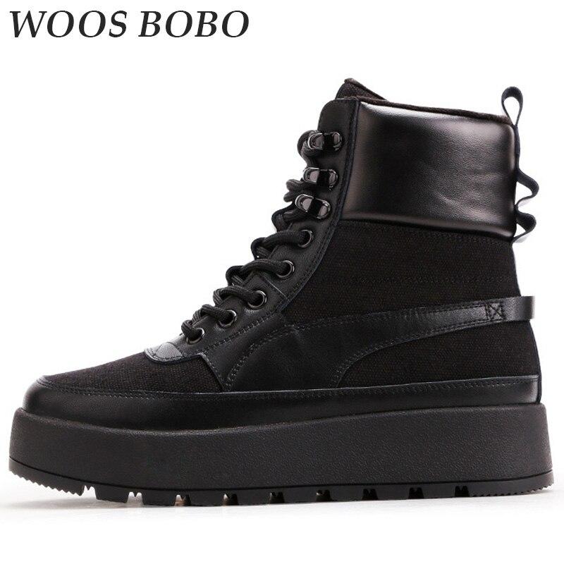 d9adc7cf411 BOBO Womens Winter Platform Heels Boots Concise Snow Martin Cowboy ...