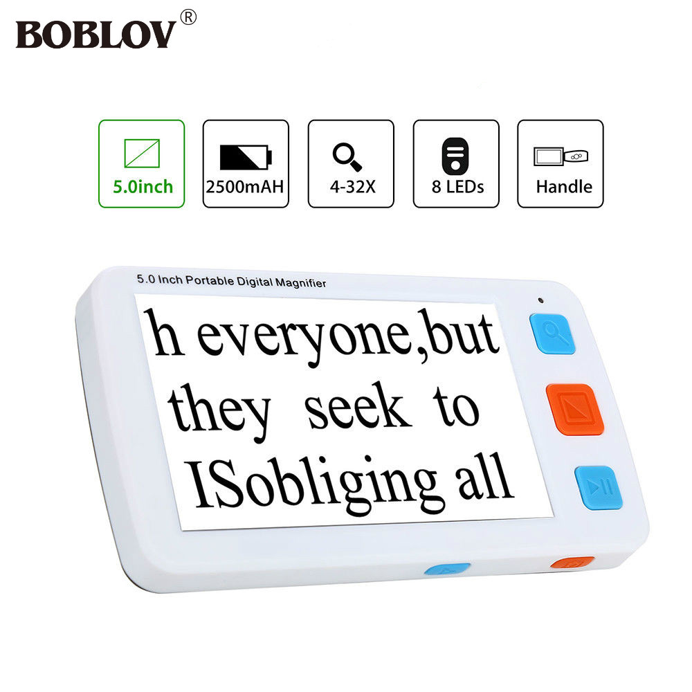 BOBLOV YS011 5.0 inch LCD 4-32X Video Digital Flexible Magnifier Electronic Reading Aid Portable with 8 LEDs light adjustable